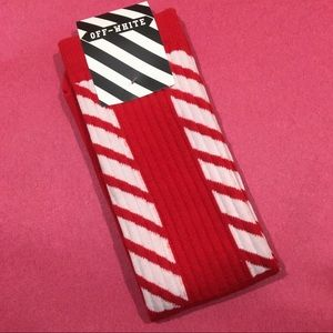 Off White Socks Red White Diagonal